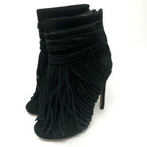 Chelsea & Zoe Black Fringe Suede Peep Toe Booties